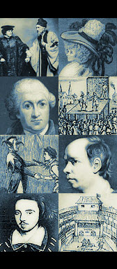 Collage of images, including playwrights Hannah Cowley, David Garrick, Oliver Goldsmith, and Christopher Marlowe.