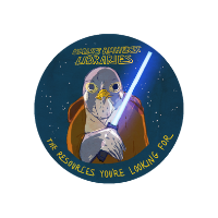 """Illustration of falcon dressed as Jedi holding Lightsaber with starry background. Text above: """"UMass Amherst Libraries."""" Text below: """"The Resources You're Looking For."""""""