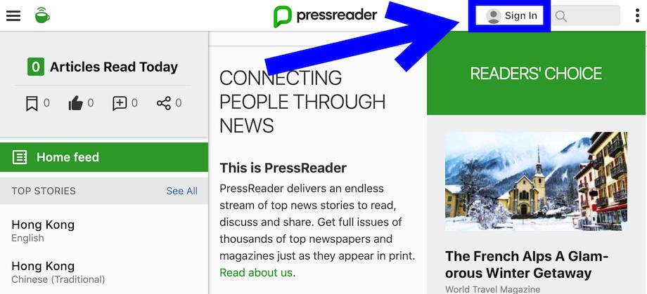 Location of PressReader sign in link