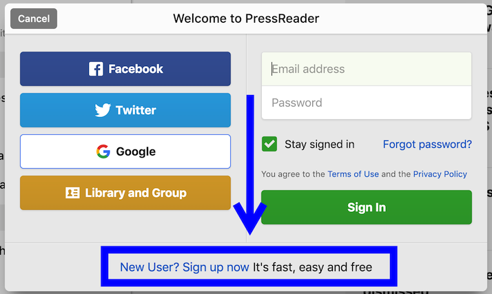 Link to create new Pressreader account