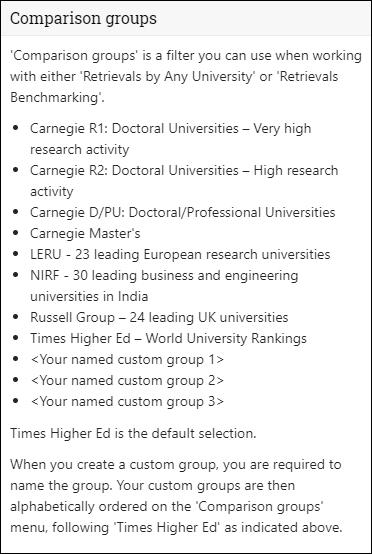 Comparison Groups Explanation Menu