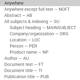 Advanced search searchable field pull down menu options
