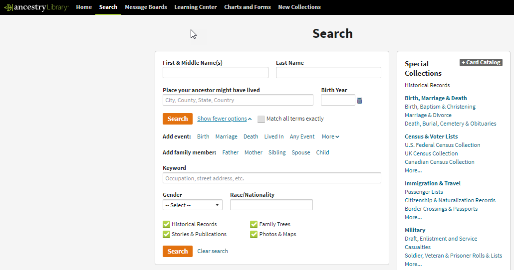 Advances Search Form