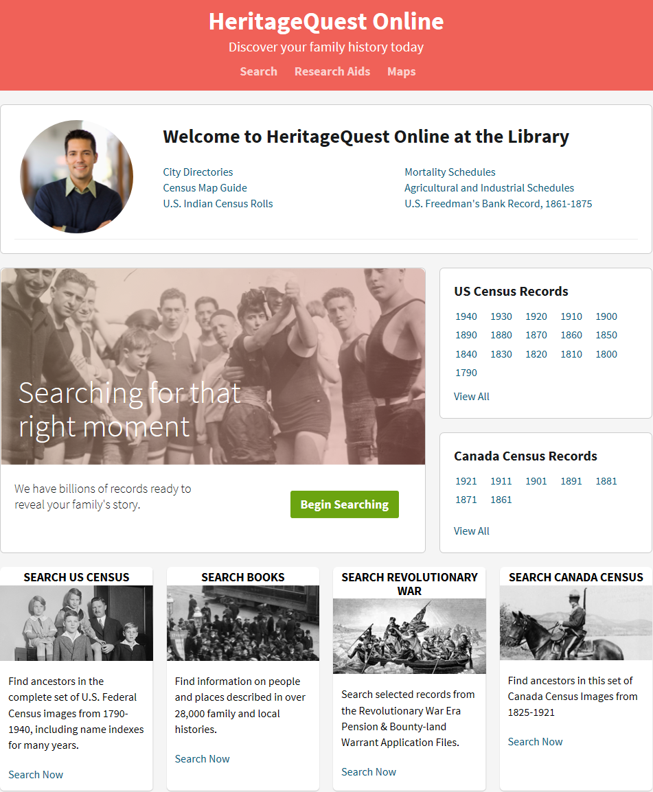 Image of Landing page Heritage Quest Online