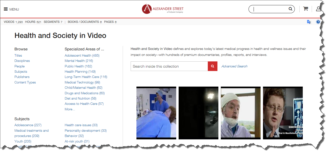 Health and Society in Video search page