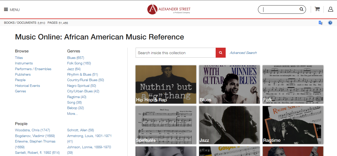 Music Online:  African American Music Reference landing page