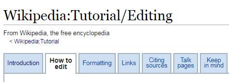 Screenshot of the Wikipedia Editing Tutorial