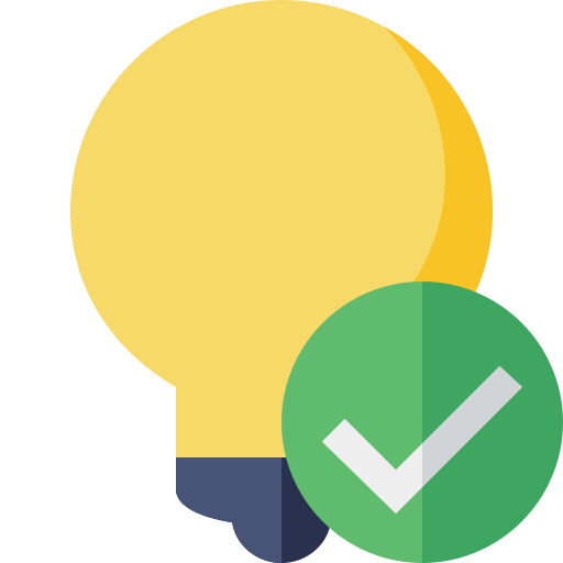 Image of a yellow  light bulb and a green check.
