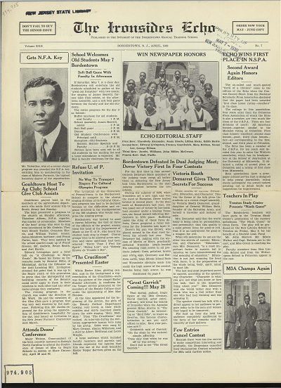 Ironsides Echo newspaper front page Apr 1938