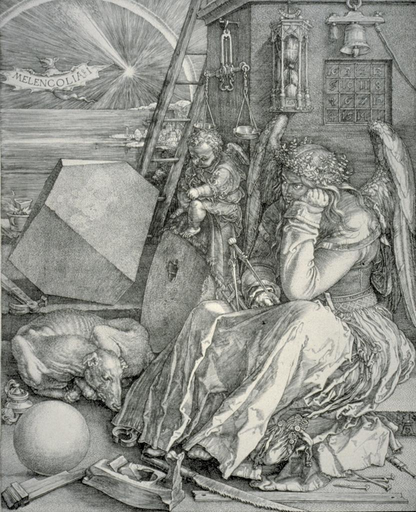 Image Dürer, Albrect. Melancholia I. 1514. Engraving on copper. 239 x 168 mm.      Städel Museum, Frankfurt, Germany.