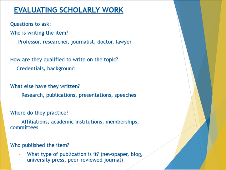 image on how to evaluate scholarly work