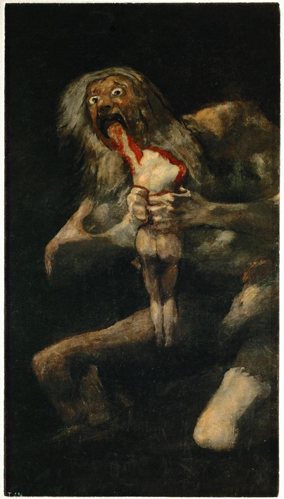 Image Francisco de Goya. (1820-1823). Saturn Devouring One of his Sons. [mural painting transferred to canvas]. Museo del Prado, Madrid, Spain.