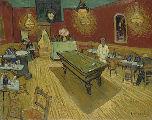 image Van Gogh, Vincent. Night Café. 1889, Yale University Gallery, New Haven. Gardener's Art Through the Ages v. II, 13 ed., by Fred S. Kleiner, Wardsworth, 1994, p. 666.