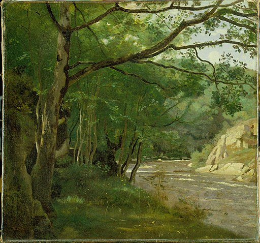 Image Corot, Camille. Ravine in the Morvan, 1840 - 1845. Oil on canvas, 18 x 18 3/4 in., High Museum of Art, Atlanta, GA.