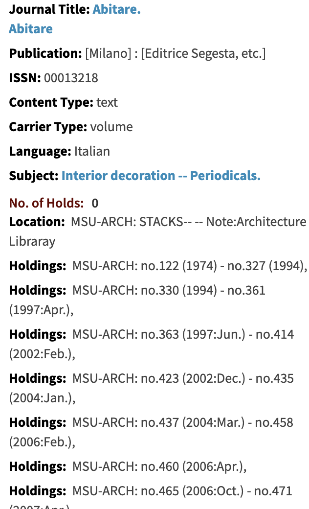 screen shot of holdings