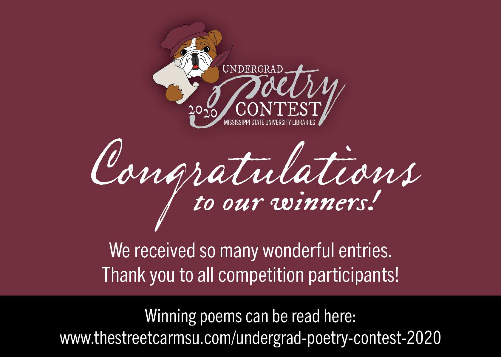 MSU Undergrad Poetry Contest thank you