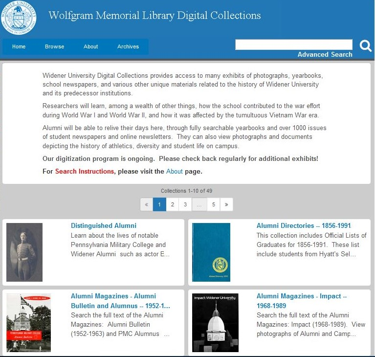 Image of Wolfgram Memorial Library Digital Collections home page
