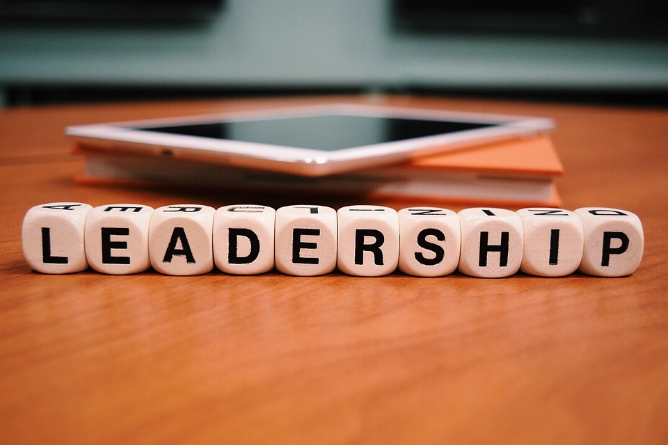Leadership image with block letters
