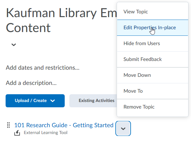 Step One - Editing the default content title – Method 2