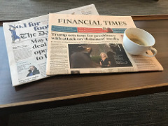Financial Times newspaper on a table.