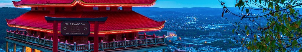 Pagoda with panoramic view of Reading, PA.