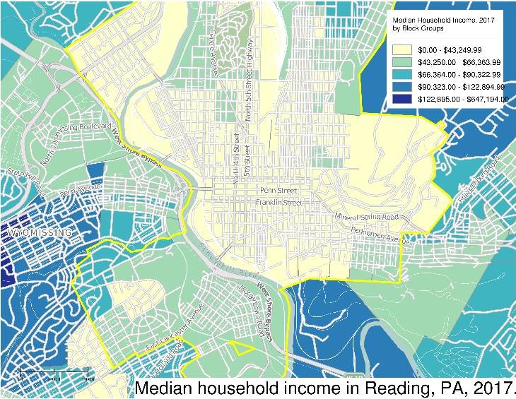 SimplyAnalytics map of median household income in Reading, PA.