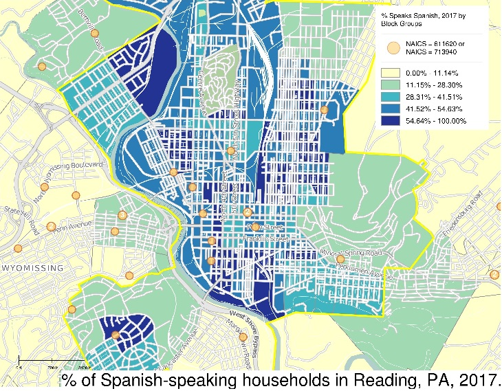 SimplyAnalytics map view of % of Spanish-speaking households in Reading, PA, 2017.