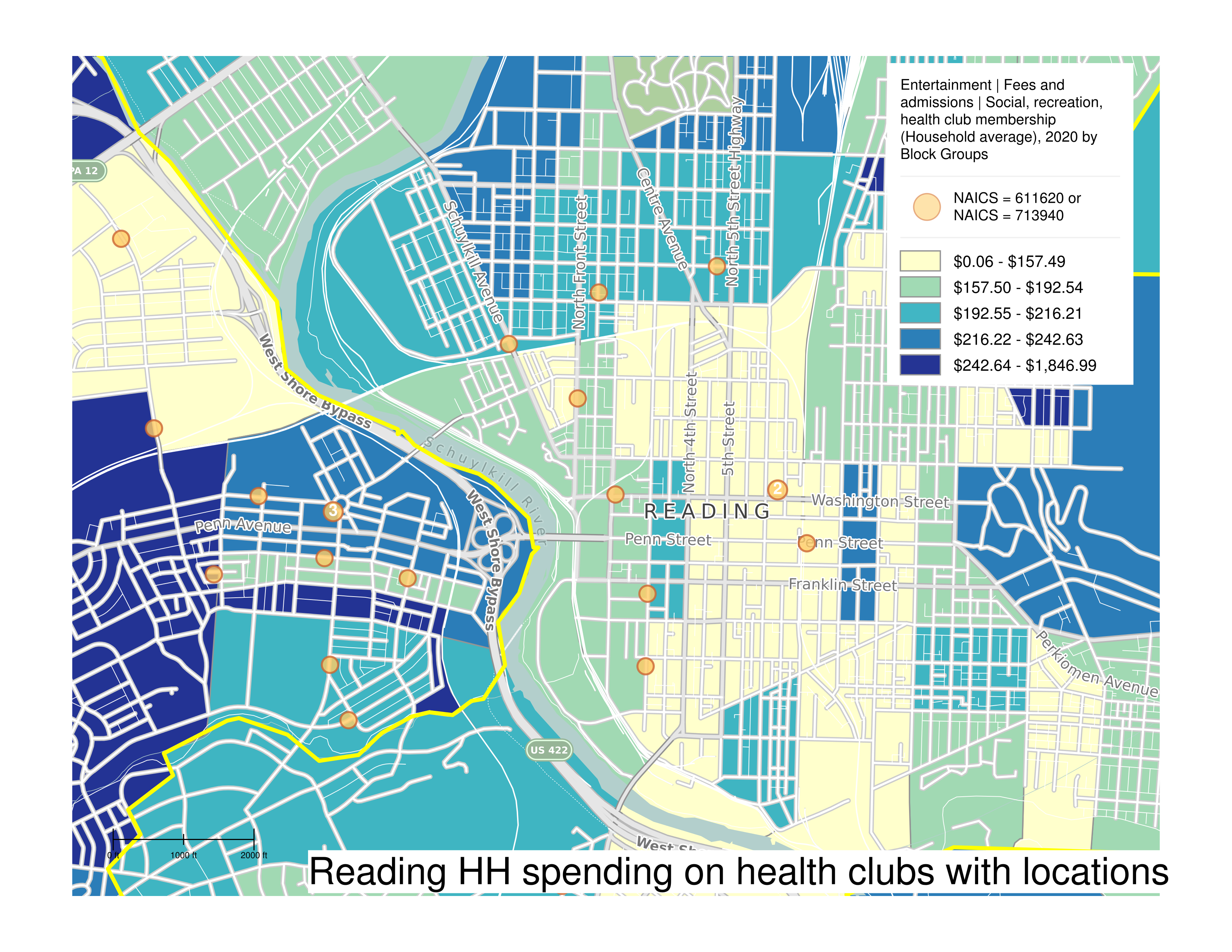 Map of average household spending on health clubs in Reading from SimplyAnalytics.