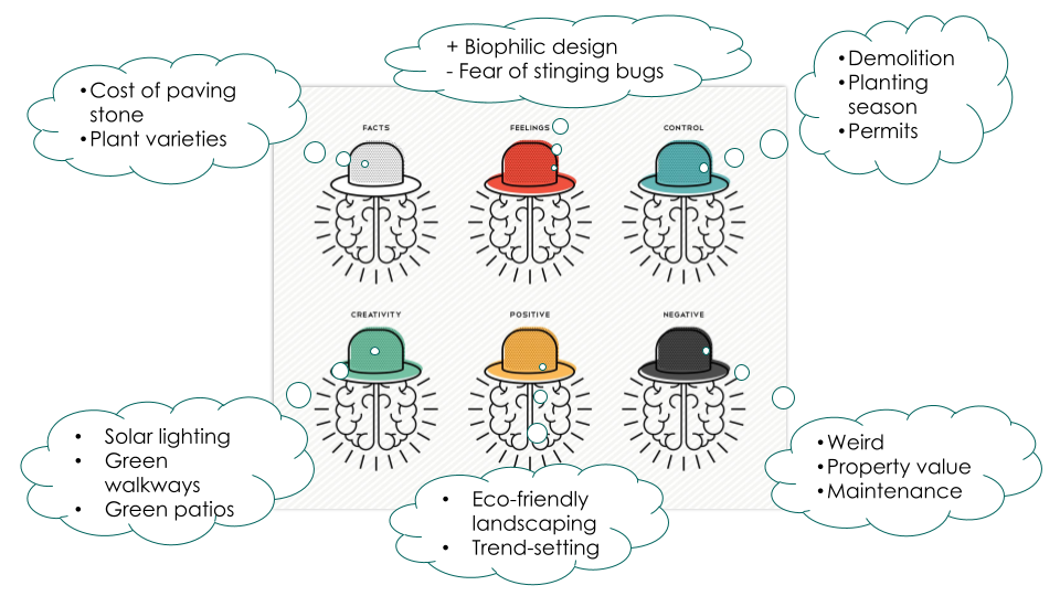 """Refer to """"Transcript - de Bono's Six Thinking Hats example"""" for details."""