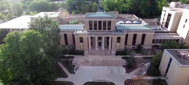 Drone view of Paterno-Pattee Library, Penn State University Park.