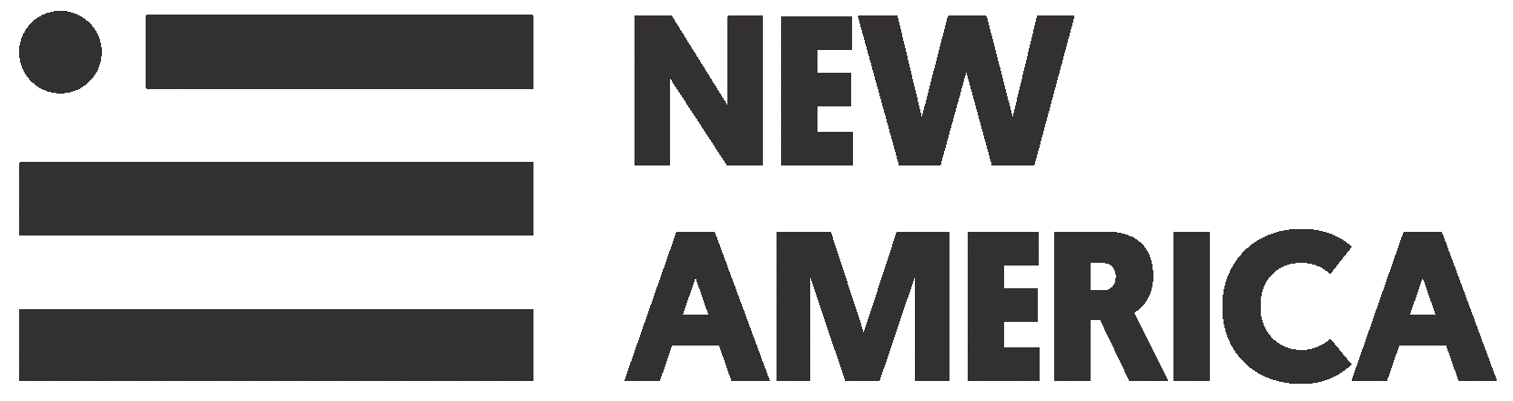 New America logo (black and white): At left is a stylized flag image similar to United States flag, with a circle in top left corner where US flag stars normally appear and alternating black and white stripes (three black, 2 white); At right says NEW AMERICA with NEW stacked on top of AMERICA