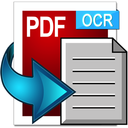 PDF with OCR label and arrow pointing to paper to represent OCR-ed text