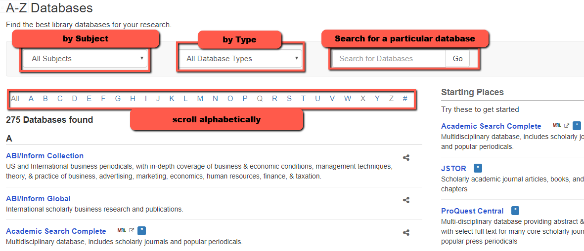 A-Z Database page can be narrowed by subject, type, searched or scrolled