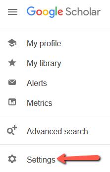 Arrow pointing at Google Scholar Settings Menu