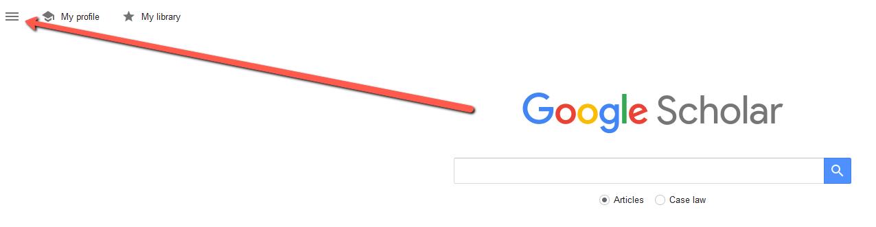 arrow pointing to hamburger menu