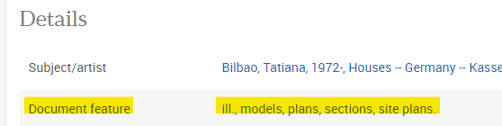 screenshot that highlights the Document feature text under the Details section of the abstract showing ill., models, plans, sections, site plans