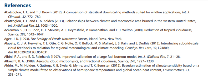 References list for paper on wildfire smoke changes due to climate change
