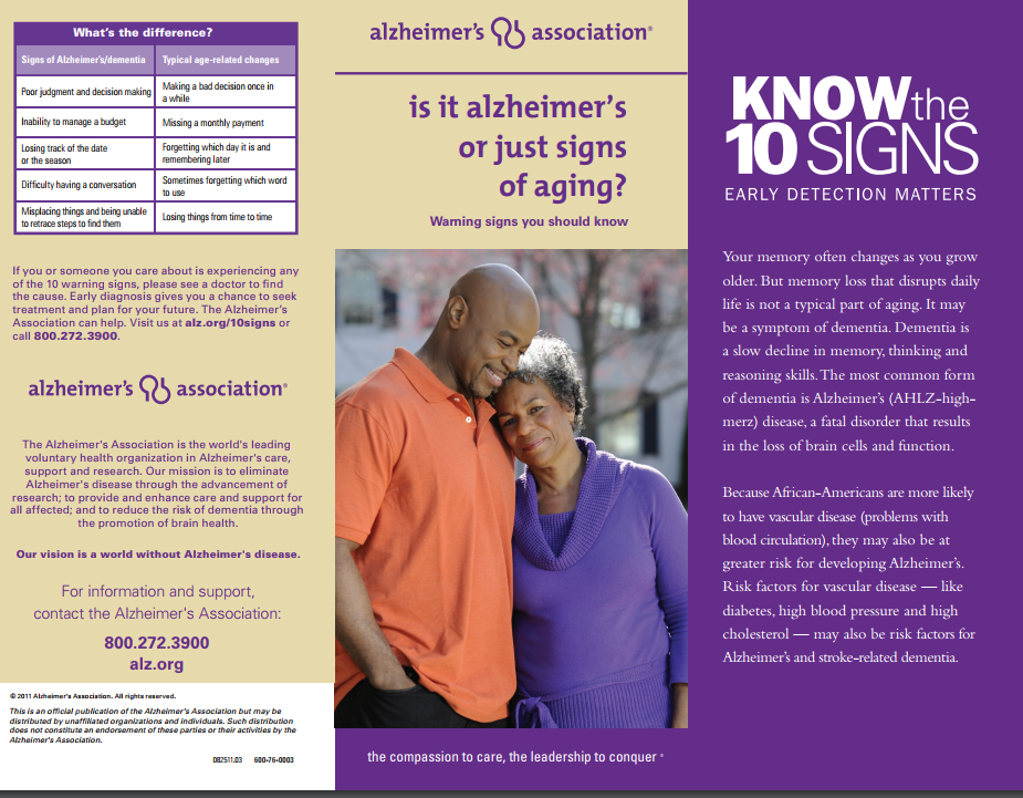 Alzheimers versus Normal Again purple poster with brochure text and picture of older adult couple