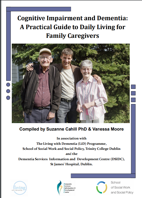 cover of Cognitive Impairment and Dementia: A Practical Guide to Daily Living for Family Caregivers with two older adults and one adult