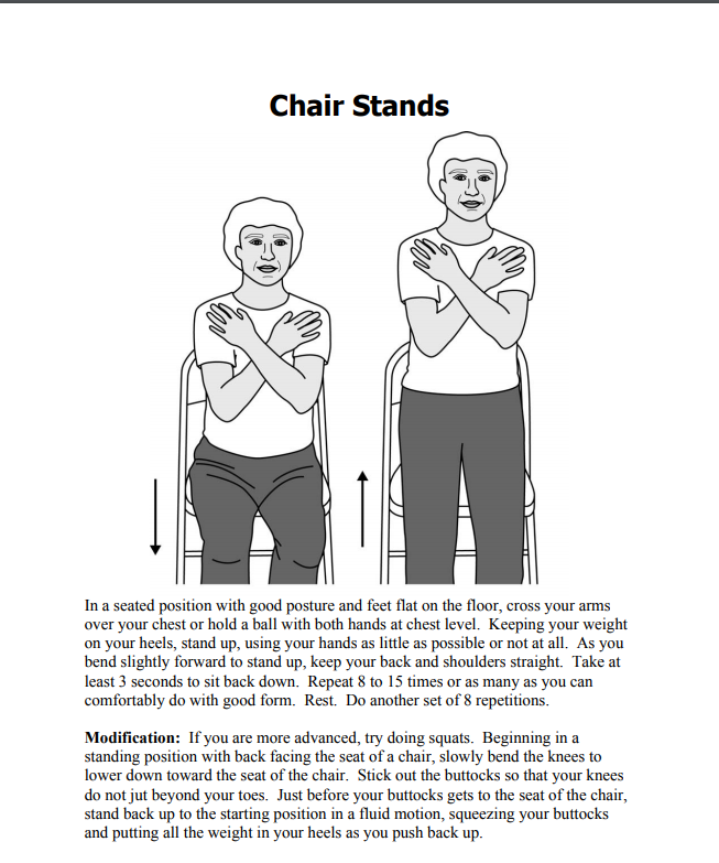handout example of chair stand exercise