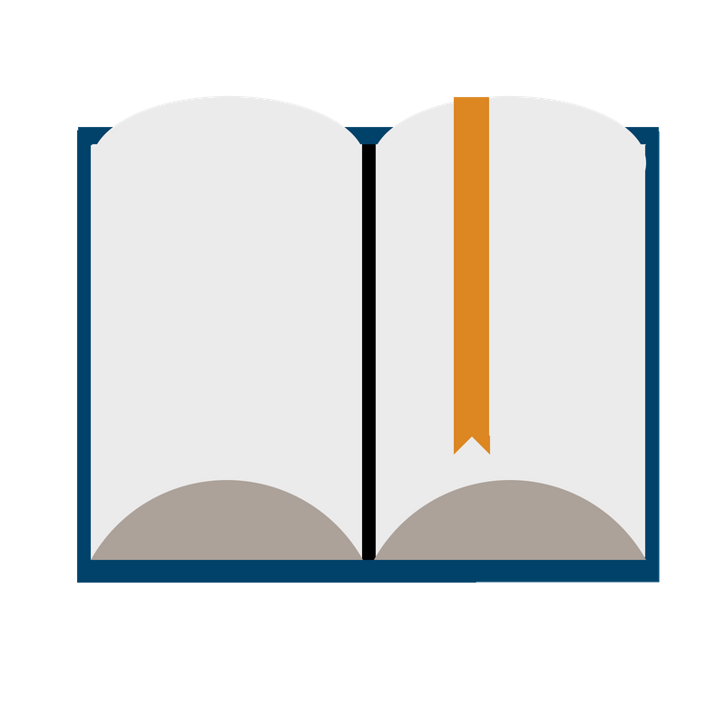 Cartoon image of an open book.