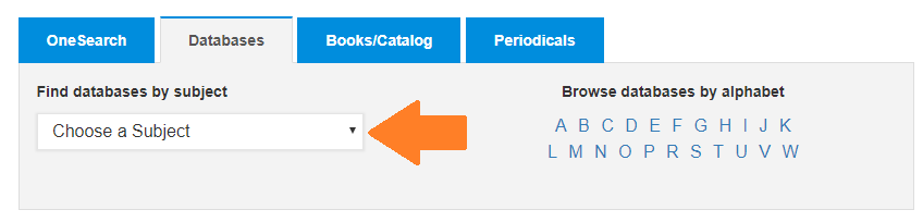 Shows databases tab of the library homepage searchbox with an arrow pointing to the drop menu of subjects.