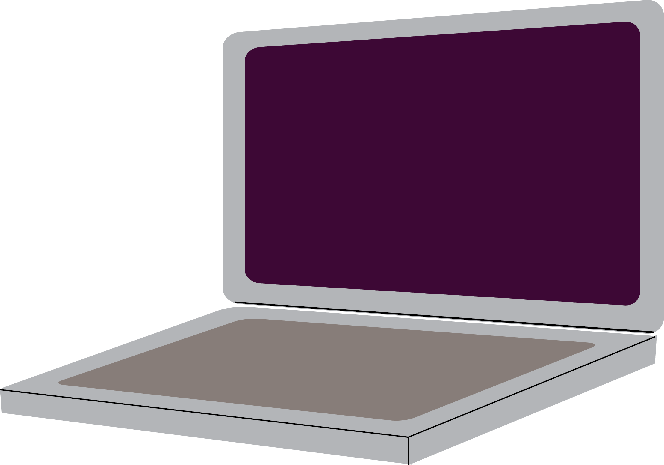 Cartoon of a laptop.