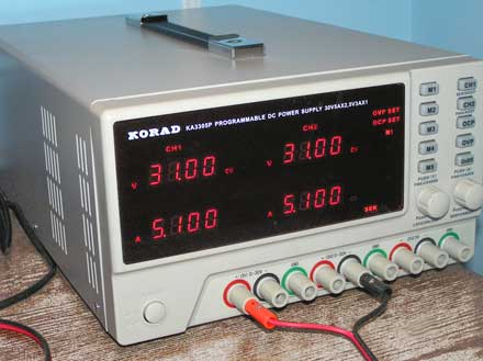 Korad power supply in use