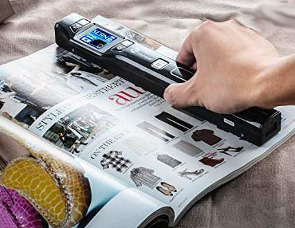 Handheld scanner on a magazine page