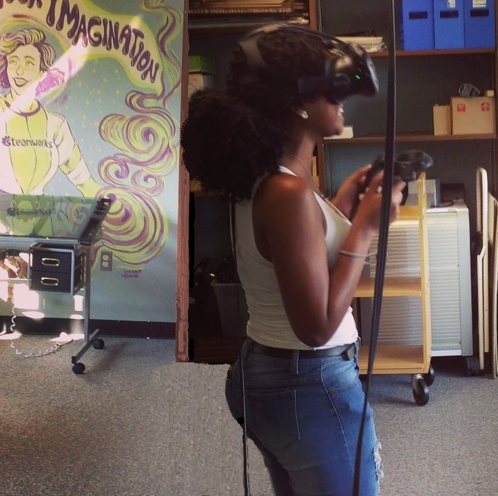 Having fun in VR, with Jenna Kazmar's & Logan Hanning's mural in the background
