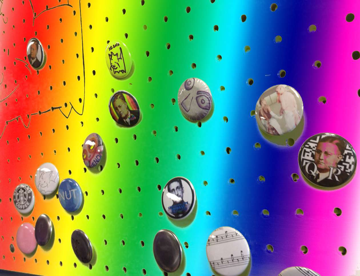 Buttons displayed on a wall