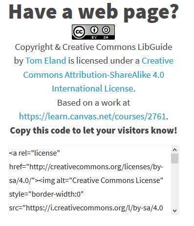 Web page CC license
