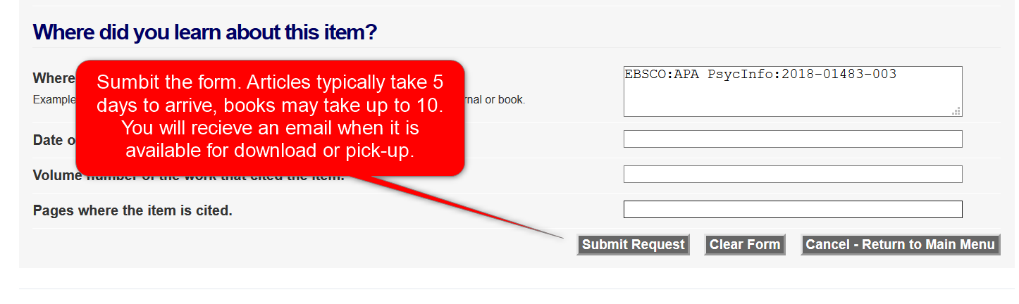 ILL request form submit button