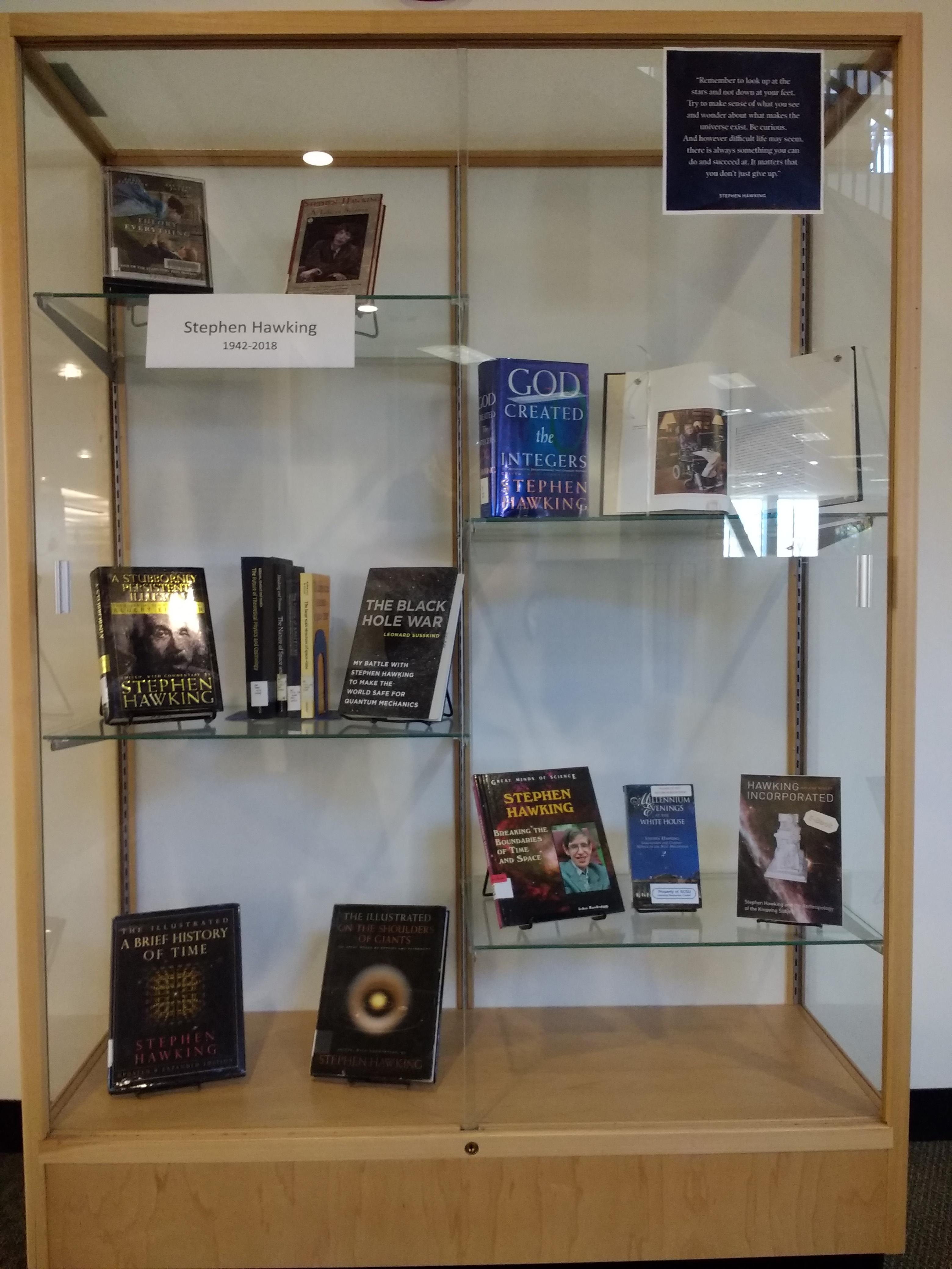 Exhibit case for memorial exhibit for Stephen Hawking